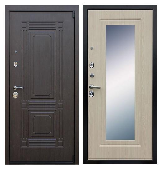 Дверь входная с зеркалом беленый дуб СП170