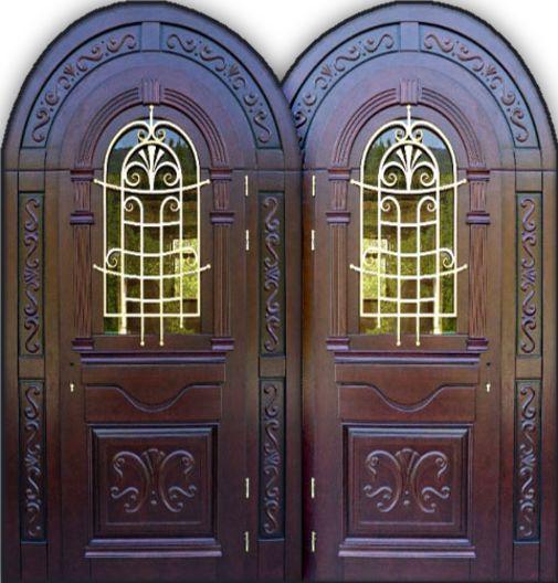 Входная металлическая дверь аркой, с ковкой и стеклом СП318