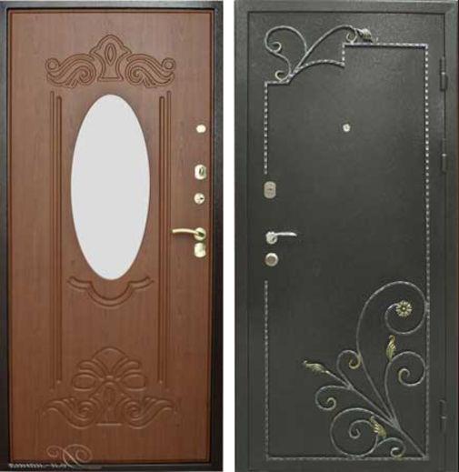 Входная металлическая дверь порошковое напыление с ковкой и МДФ с зеркалом СП060